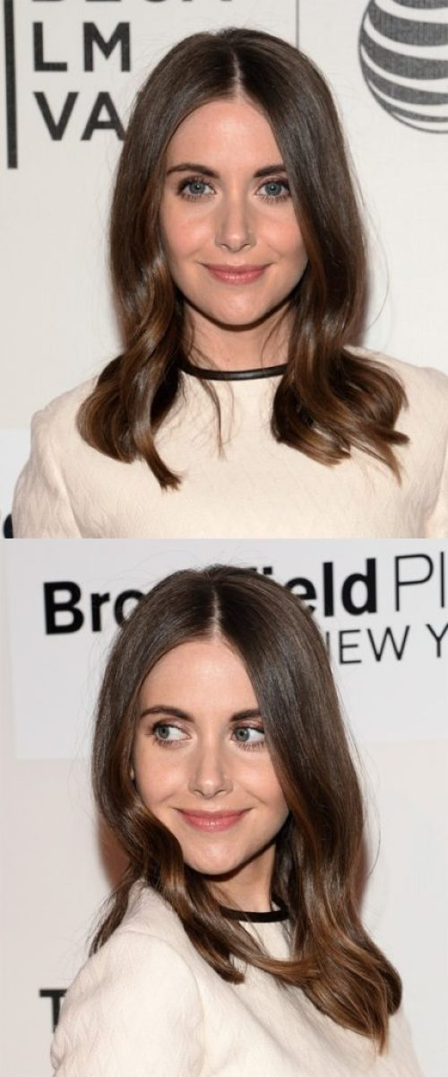 Center Parted Medium Hairstyle with Waves