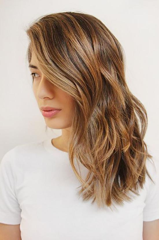 Brunette Hair with Subtle Caramel Highlights