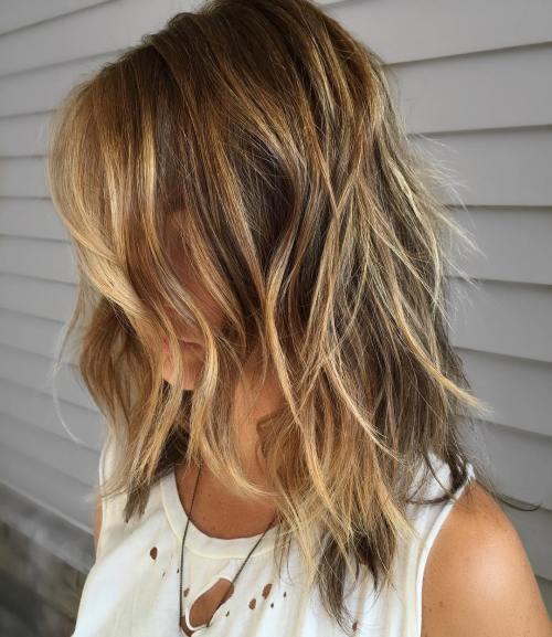 Caramel Blonde Shag Haircut with Waves