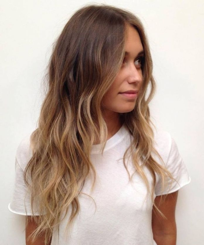 Balayage Light Brown Long Wavy Hair