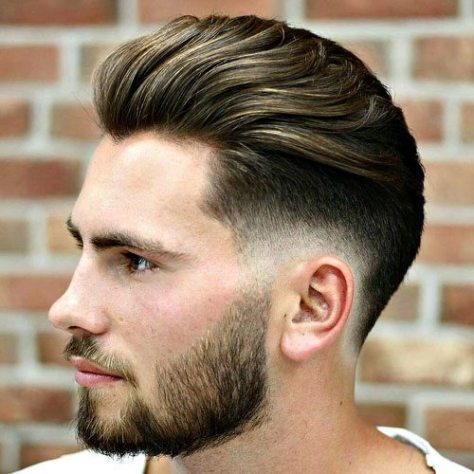 Brush Back Hair with Low Fade