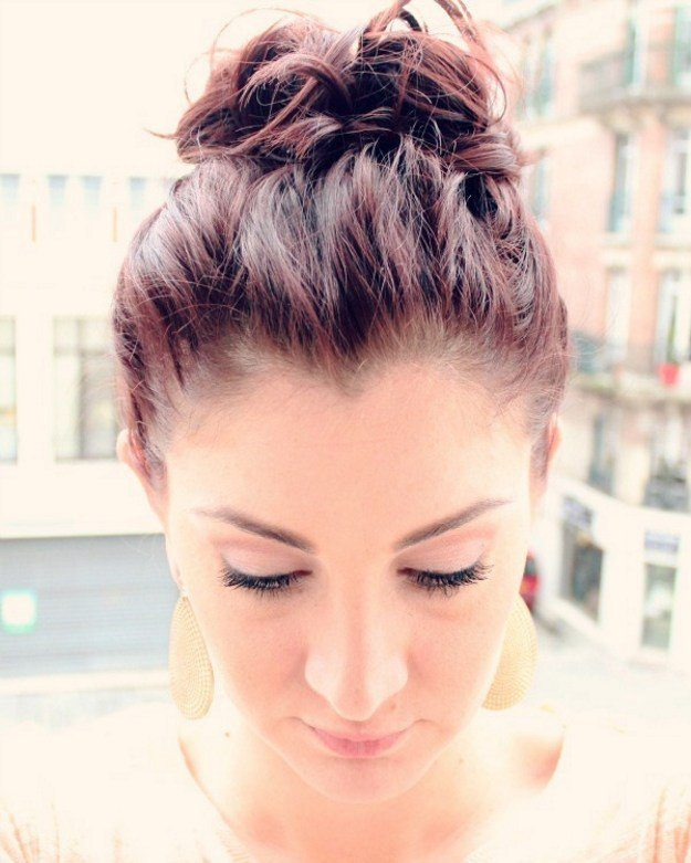 Messy Top Knot Updo for Short Hair