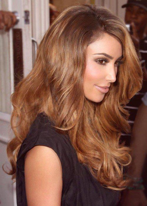 Side Swept Long Wavy Light Brown Hair