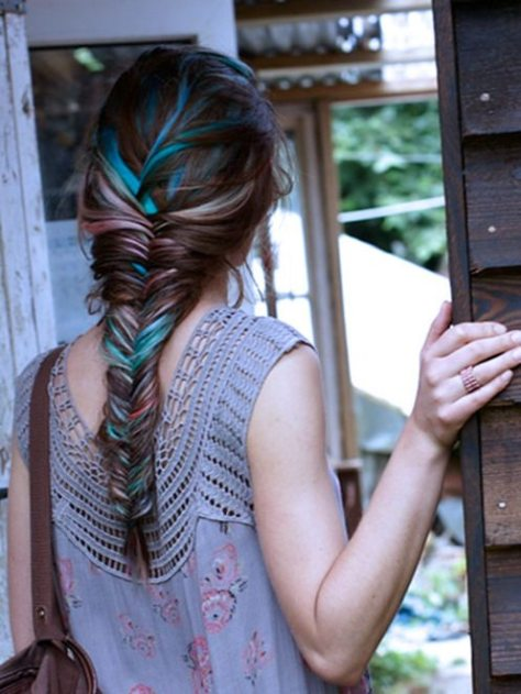 Blue and Pink Highlights on Light Brown Hair