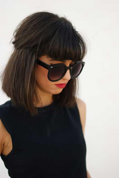 Dark Medium Length Hairstyles With Blunt Bangs