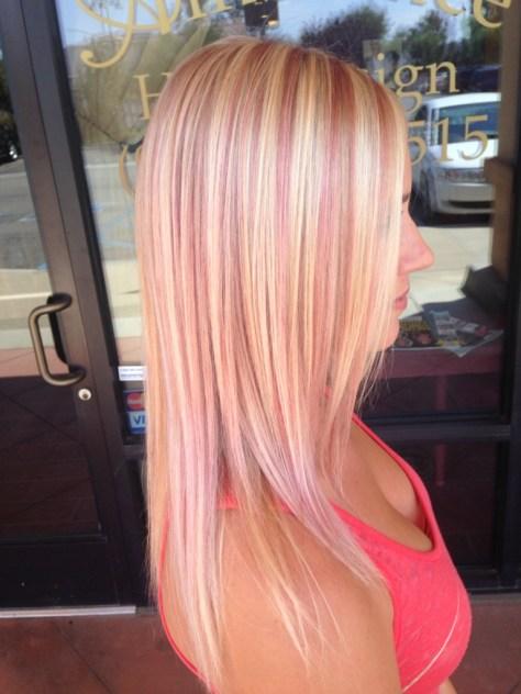 Pink Highlights on Medium Blonde Hair