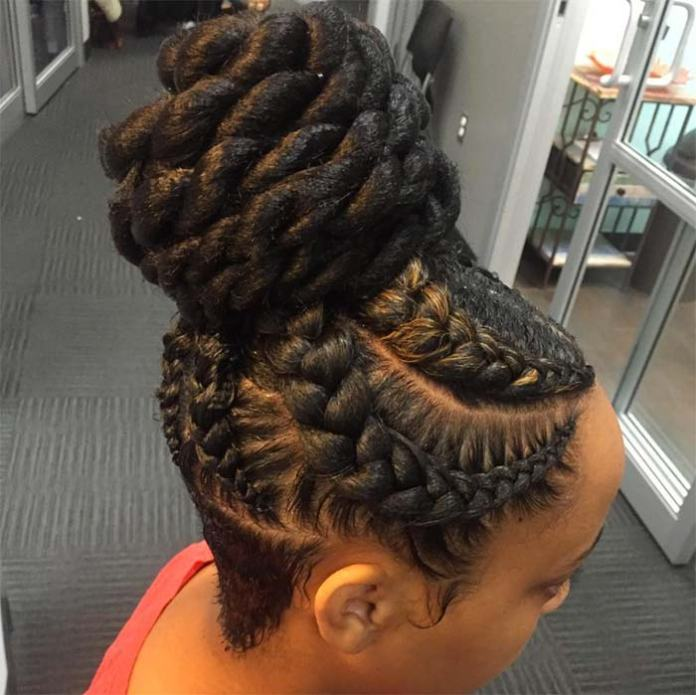 how to put individual braids in a bun