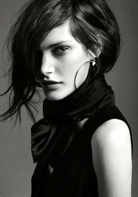 Asymmetrical Short Black Hairstyle
