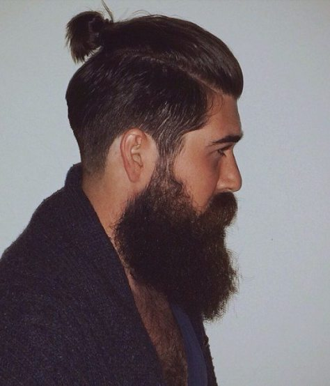 Very Short Ponytail with Beard