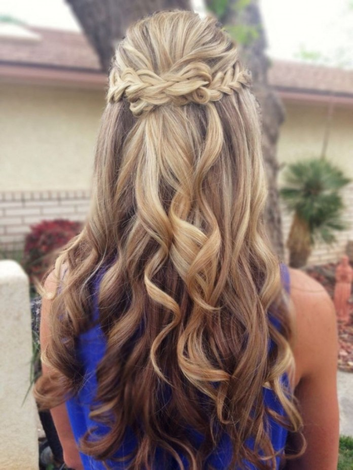 Half Up Half Down Hairstyle with Knotted Braid