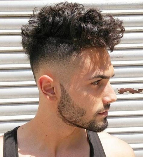 Fade Haircut with Curly Top