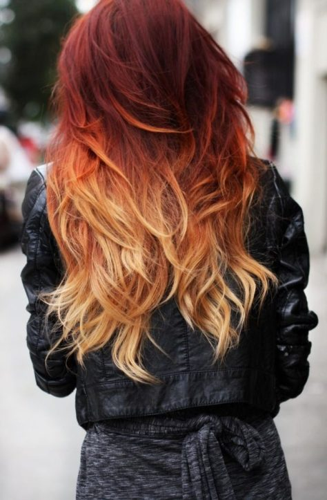 Burgundy to Blonde Ombre Hair