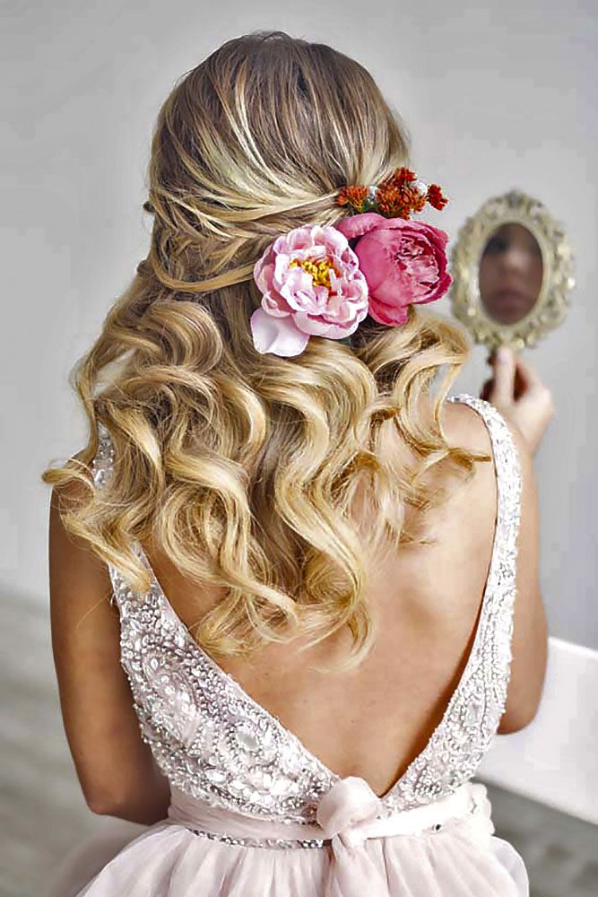 Bridal Hairstyle with Flower Crown