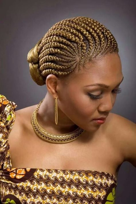 Golden Cornrows Updo