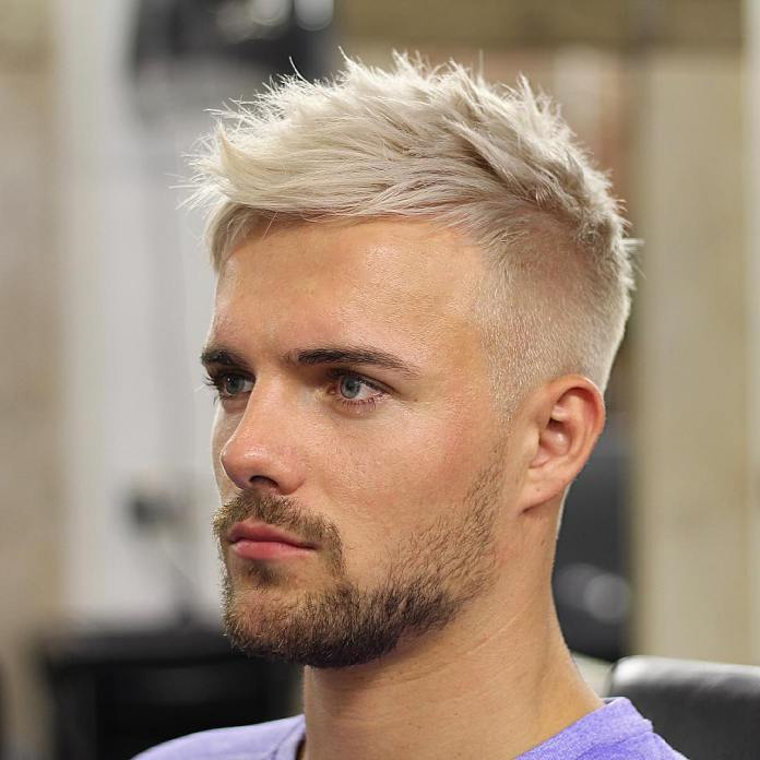 High Fade with Textured Ash Blonde Hair