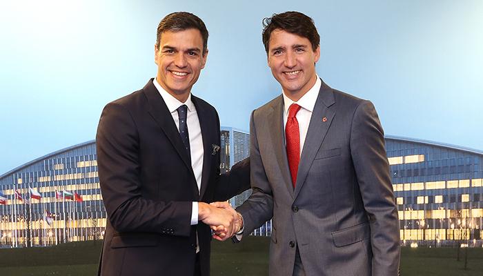 Pedro Sanchez and Justin Trudeau