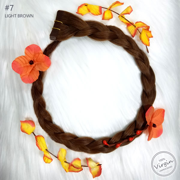 Virgin-Tape-In-Hair-Extensions-Light-Brown-7-Boho-Wreath-Braid-Flowers.fw