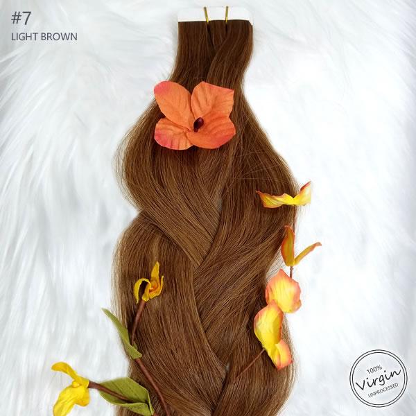 Virgin Tape In Hair Extensions Light Brown 7 Braid Flowers.fw