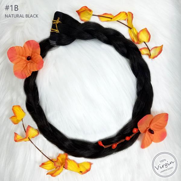 Virgin-Tape-In-Hair-Extensions-Natural-Black-1B-Boho-Wreath-Braid-Flowers.fw