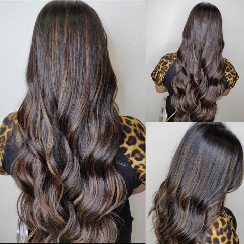 Partial Hair Highlights Dark-Brown Medium Brown Long Hair