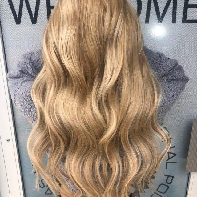blonde extensions with blonde roots