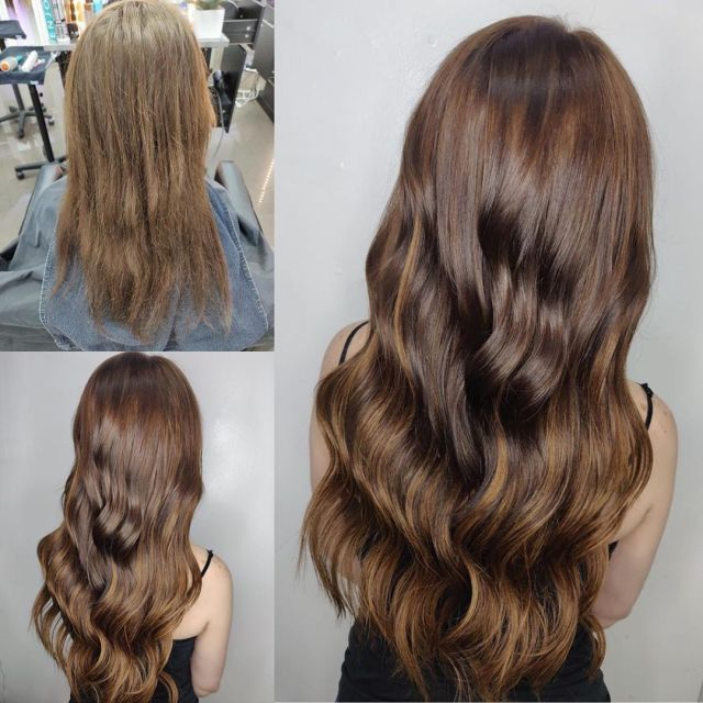 Women Showing Her Highlighted Colored Hair Extensions in Las Vegas at Hottie Hair Salon Las Vegas