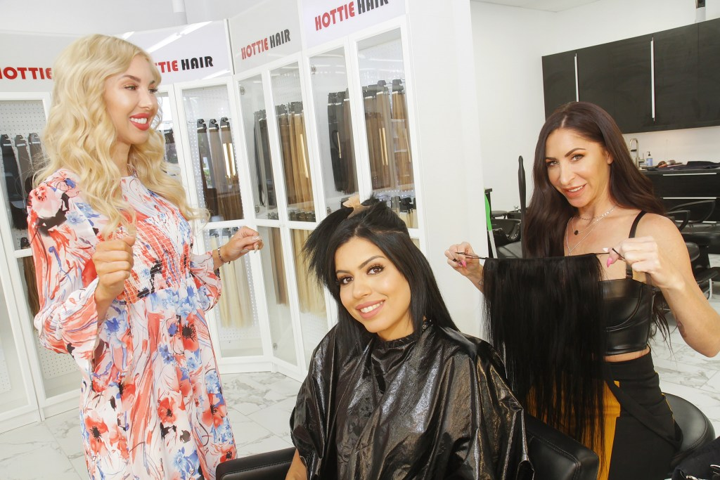 Applying Beaded Weft Hair Extensions at Hottie Hair Salon & Extensions Hair Store Las Vegas
