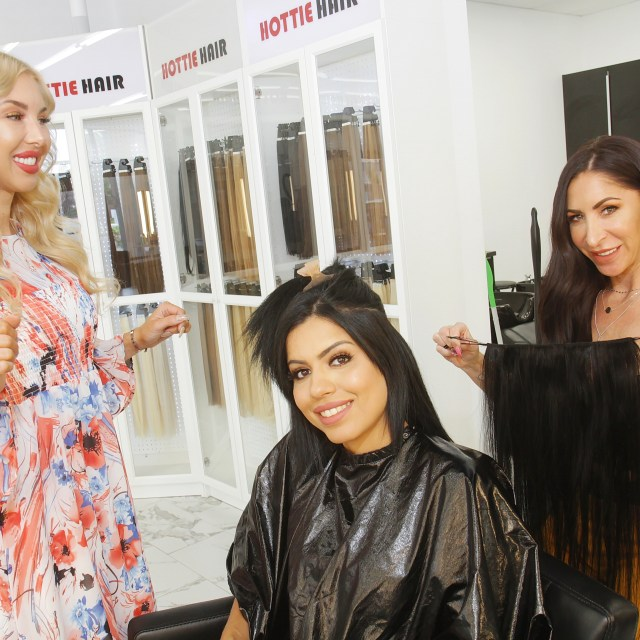 Client Getting Hair Extensions in Las Vegas Installed By Hair Stylist