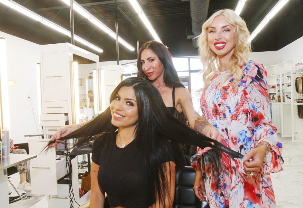 Hair Stylists Showing Completed Install of I-Tip Hair Extensions in Las Vegas at Hottie Hair Salon & Extensions Hair Store Las Vegas