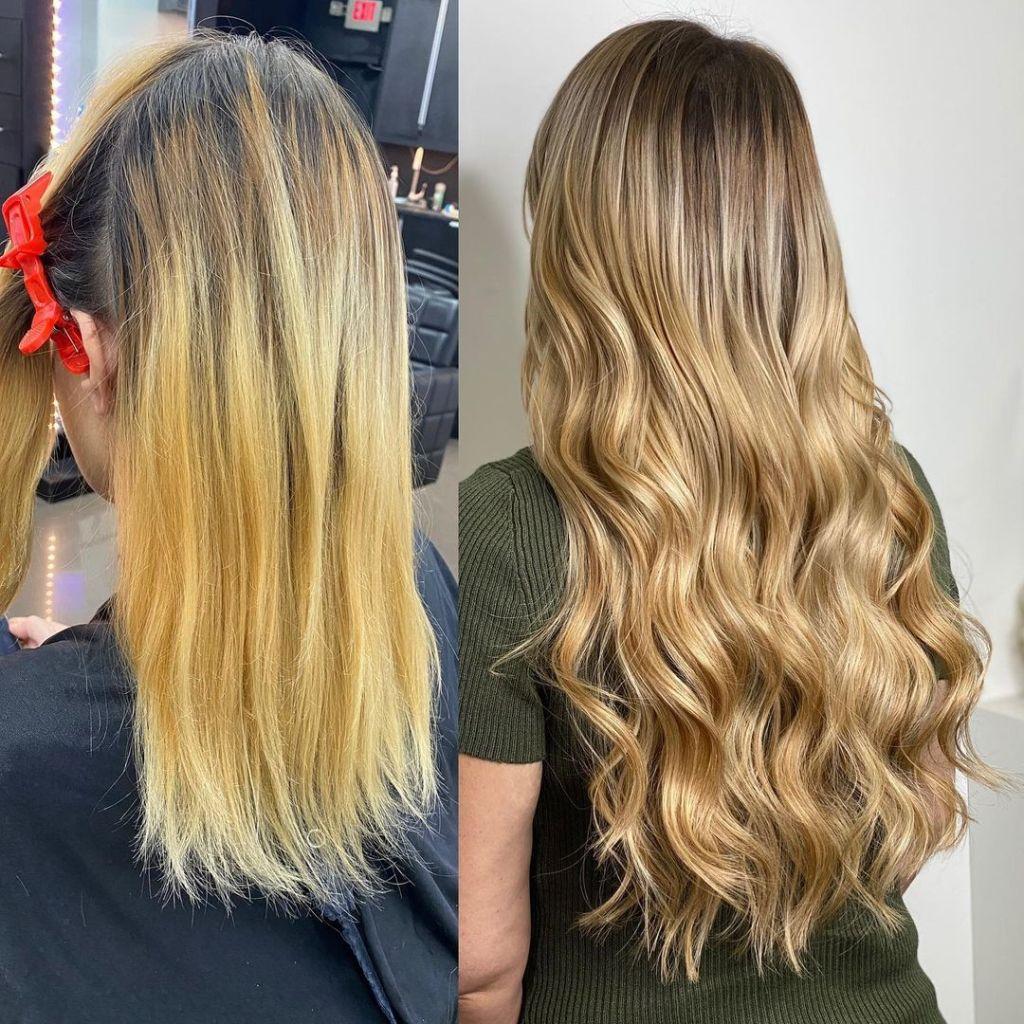 22 Inch Medium Blonde I Tip Hair Extensions Installed On Women 1