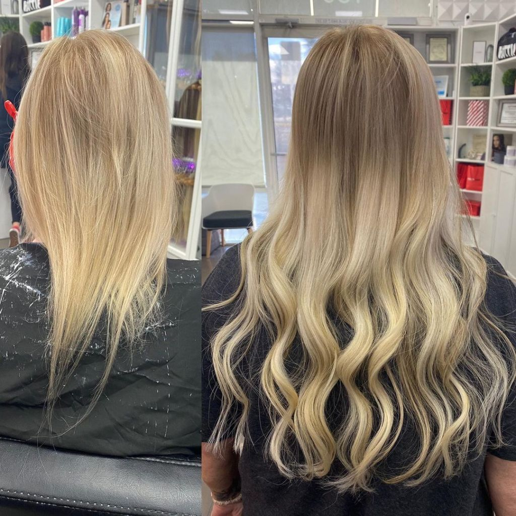 Before After I Tip Hair Extensions Short To Long