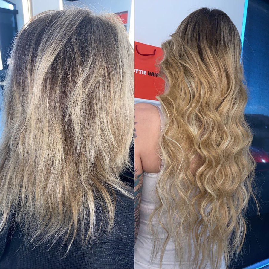 Hand Tied Extensions Before After Balayage 1