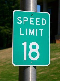 An 18mph speed limit sign
