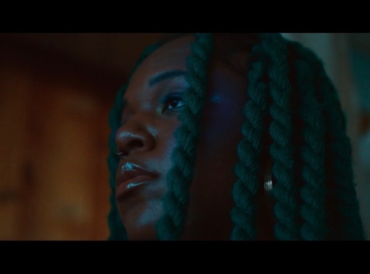 A brown-skinned Black person with long dark green braids is in a dimly lit room. The area behind them is out of focus so you can only see what appears to be a brown wall and maybe a window up top. You are so close to them that you can only see their face and they have a neutral expression. The person is looking up and off to the side so that only the side of their face is visible. There's a soft light reflecting off of their lips, cheek, and eyebrow bone. They are wearing a small nose ring and a large hoop earring.