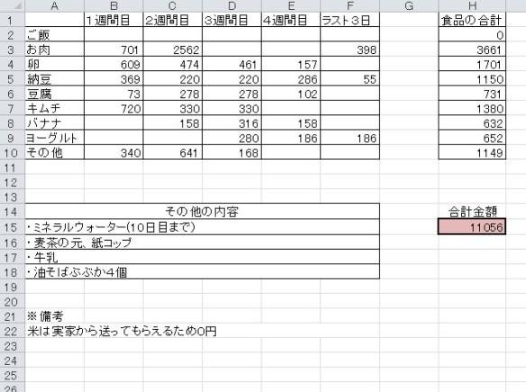 1ヶ月1万円生活結果