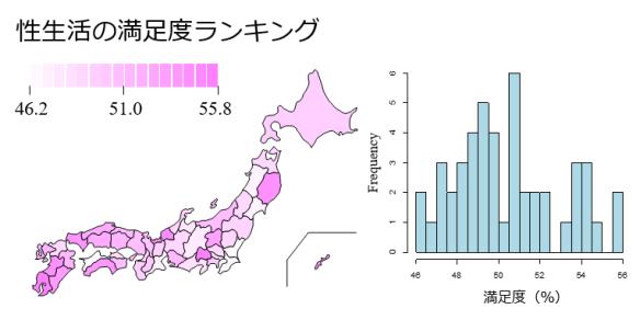 性生活満足度の都道府県分布