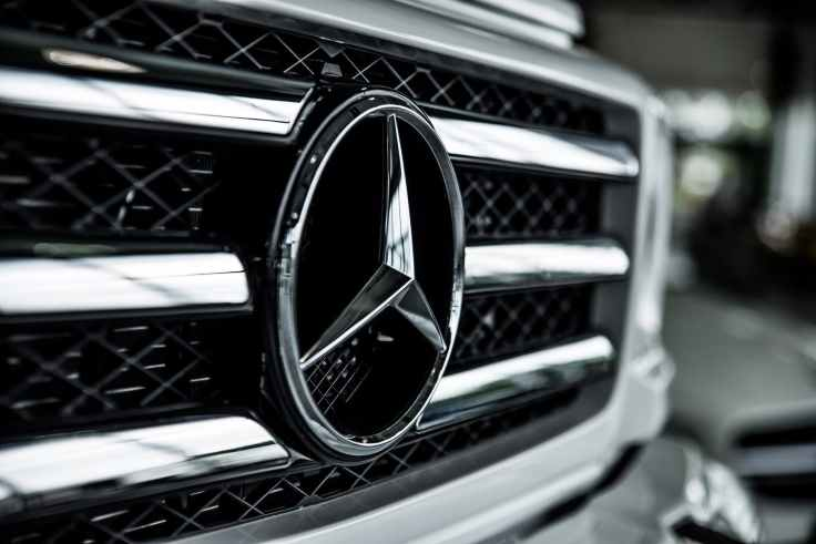 shallow focus of mercedes benz emblem