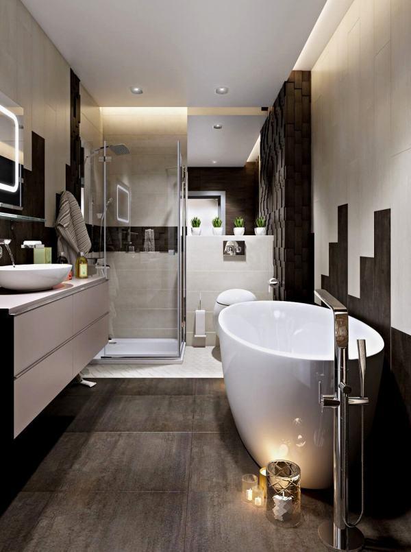 2019 ВАННЫЕ фото стильная ванная комната в белокоричневых