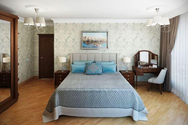 2019 СПАЛЬНИ фото классическая спальня с обоями и паркетом