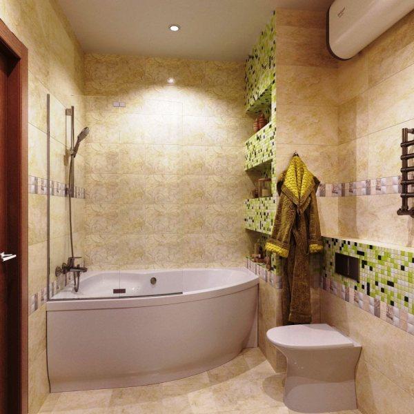 2019 ВАННЫЕ фото ванная комната бежевого цвета с угловой ...