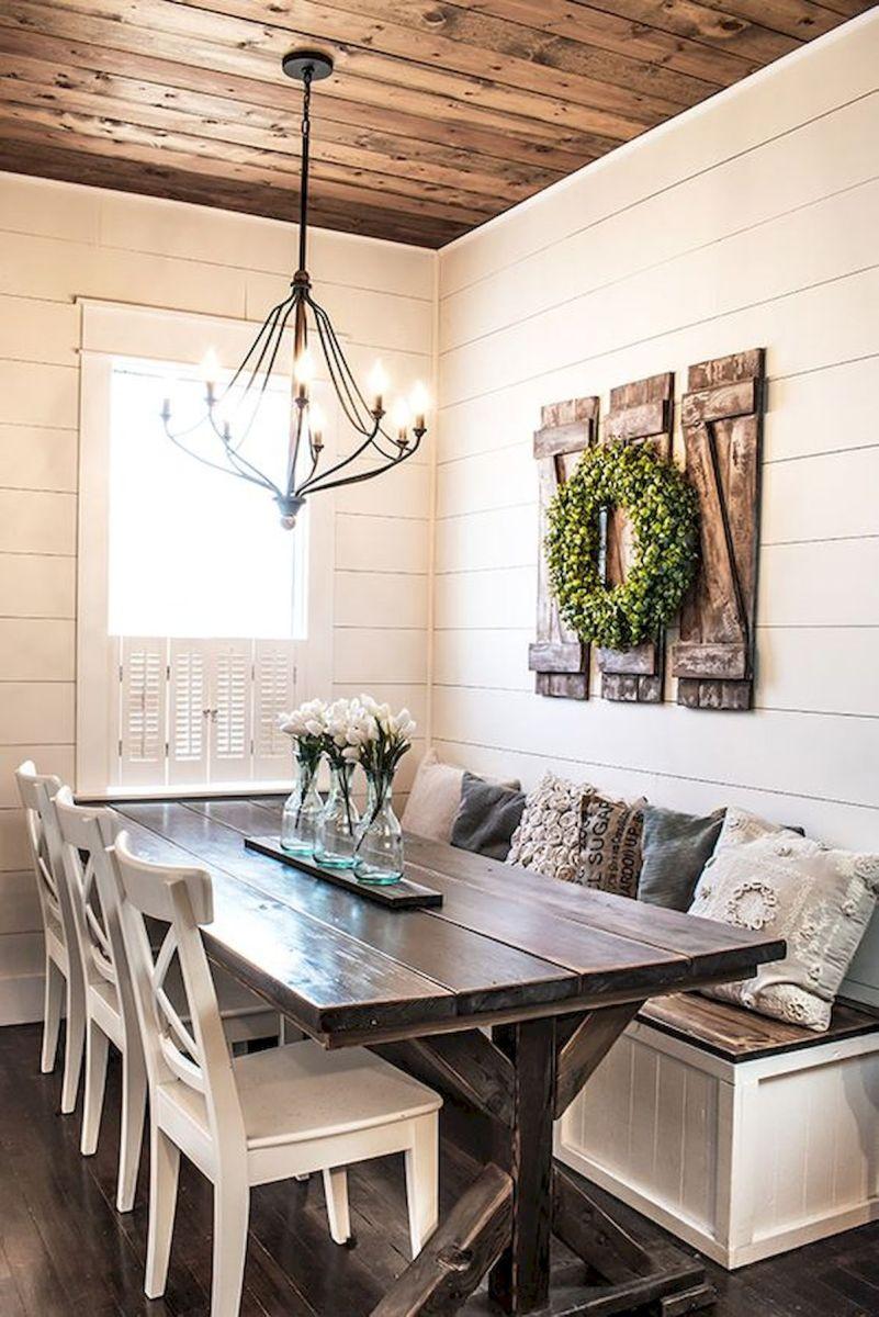 40 Adorable Farmhouse Dining Room Design and Decor Ideas (16)