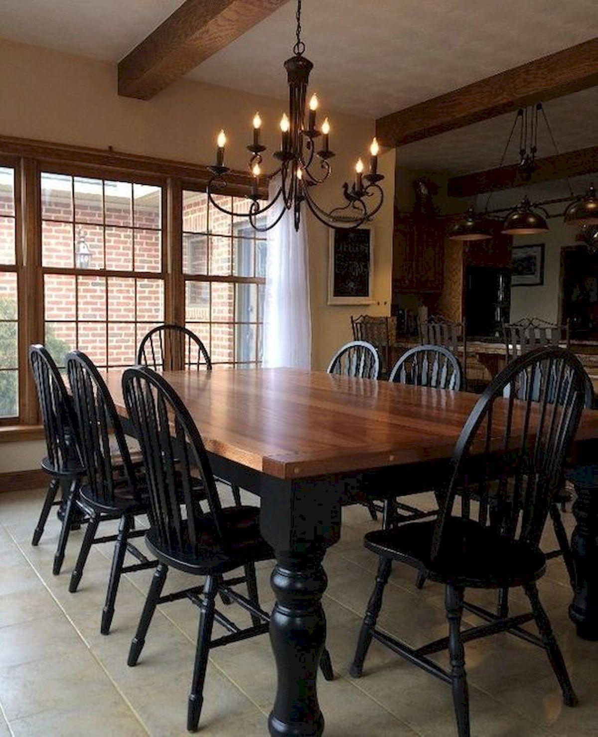 40 Adorable Farmhouse Dining Room Design And Decor Ideas (24)