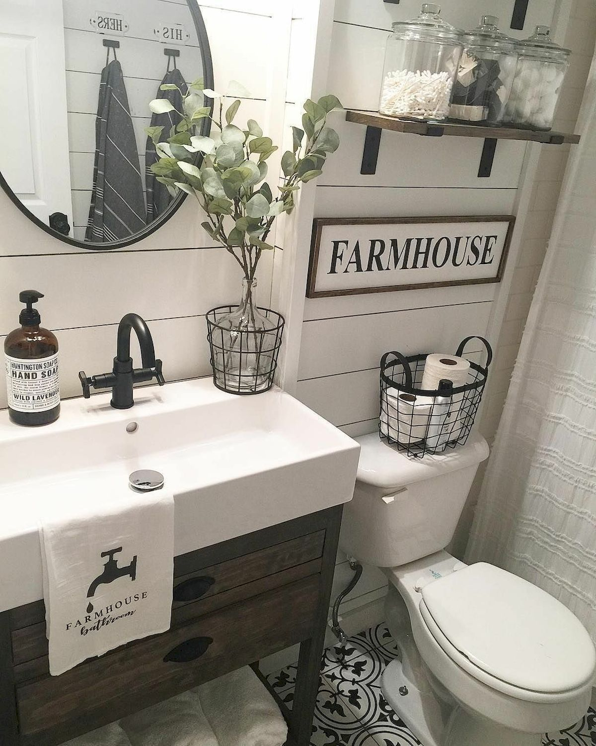 60 Stunning Farmhouse Bathroom Decor and Design Ideas ... on Farmhouse Bathroom Ideas  id=11924