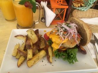 Veggie Burger and Passion Fruit Juice