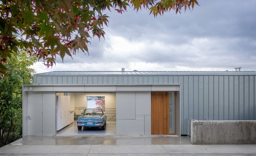 shipping container motorcycle garage
