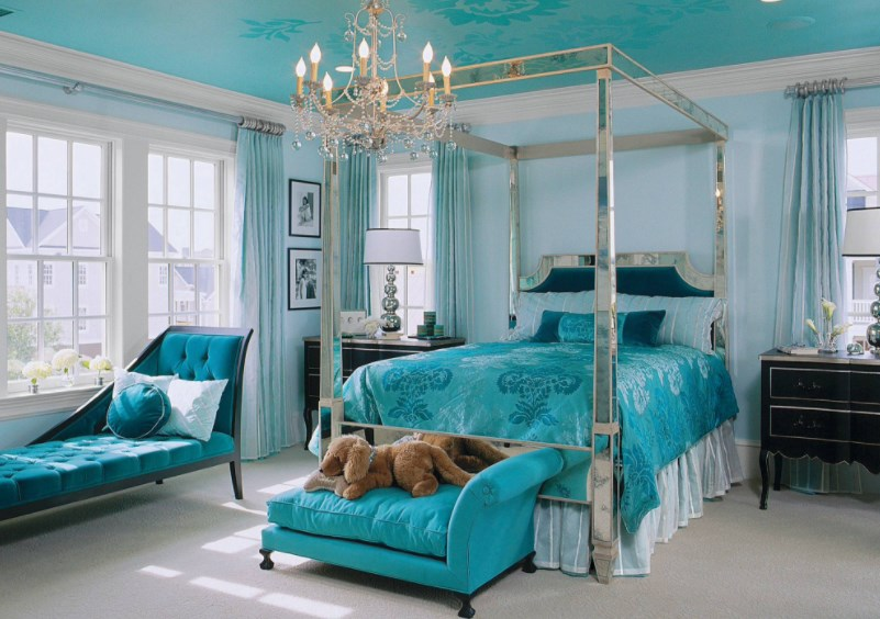 turquoise room darkening curtains