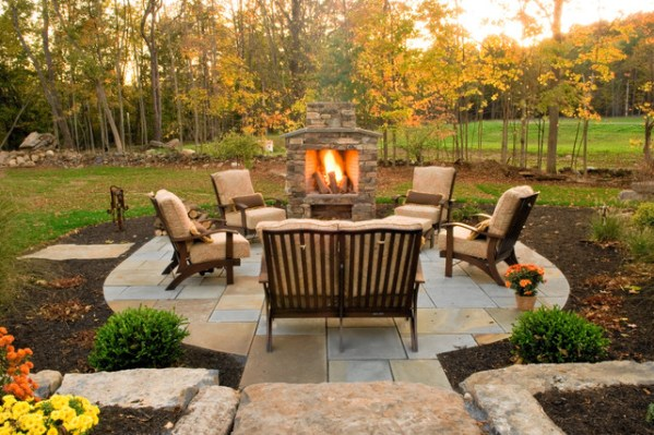 small outdoor patio fireplaces Rocky Outdoor Fireplace Designs For Stronger Exterior
