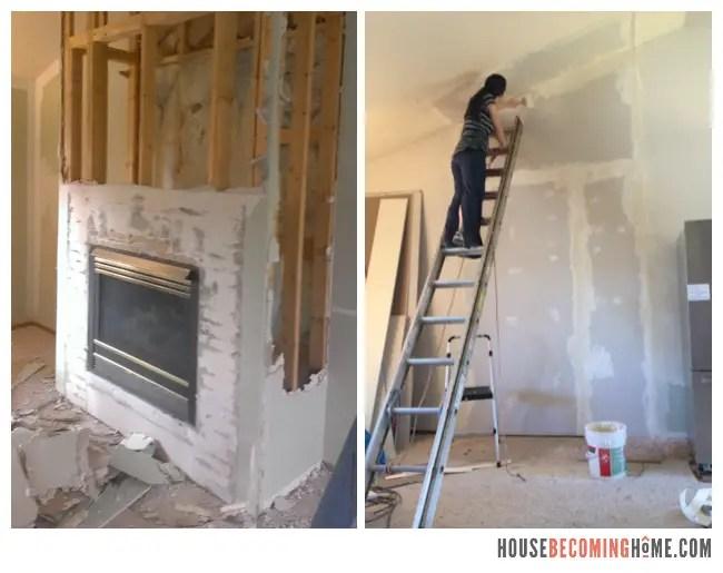 Removing Old Fireplace during DIY Kitchen Reno