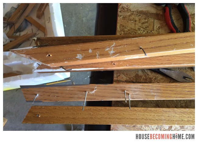 resuing old balusters for stair update