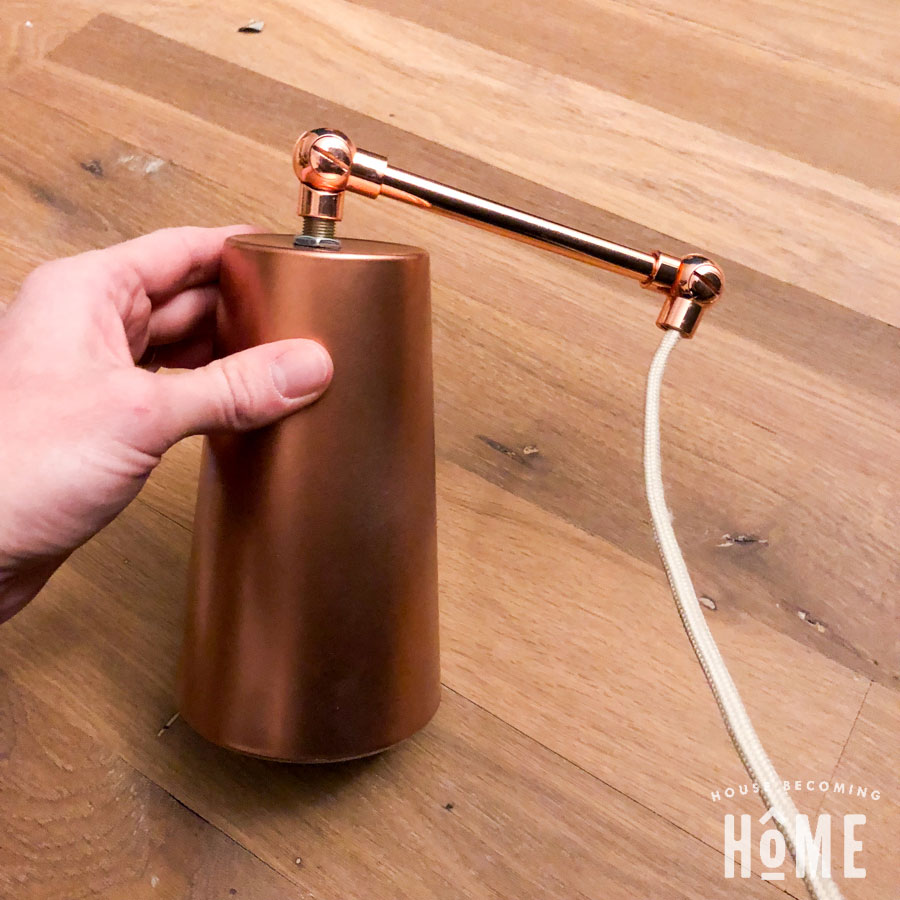 Spray Painted Cup and Copper Pipe for DIY light fixture